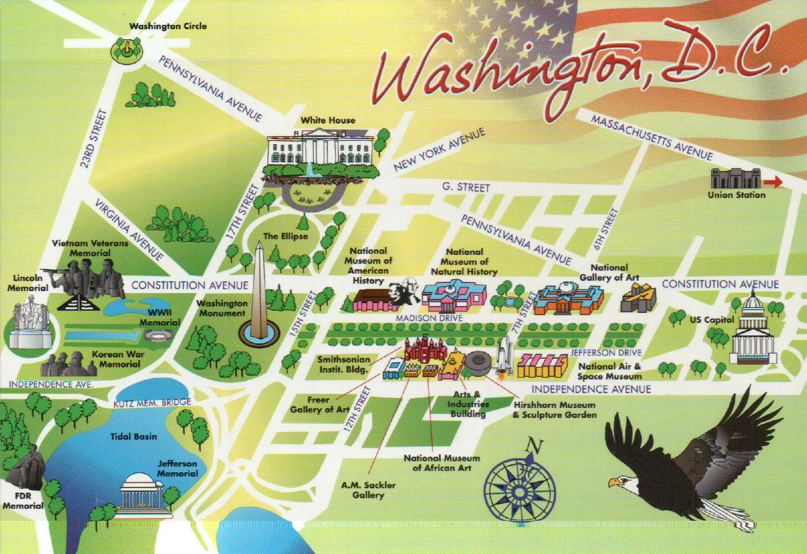 WASHINGTON D.C. STATE Map, National Mall, White House, US Capitol 5 ...