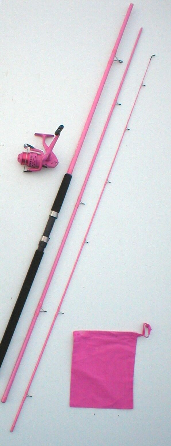 Ladies powder pink 12ft match coarse rod lined reel for Ladies fishing rods