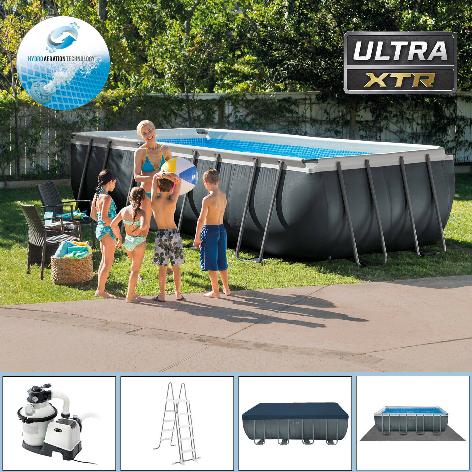 intex 549x274x132 swimming pool xtr rechteck stahlwand frame schwimmbad 28352gs eur 698 90. Black Bedroom Furniture Sets. Home Design Ideas