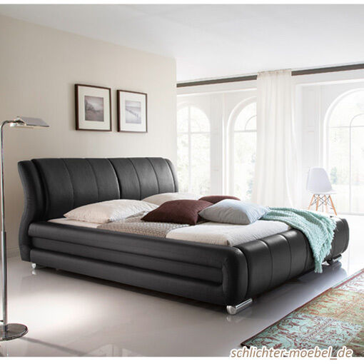 bolzano polsterbett kunstlederbett bett designerbett design 160x200 cm schwarz eur 692 10. Black Bedroom Furniture Sets. Home Design Ideas