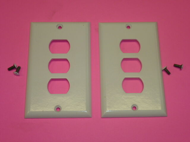 Nos! (2) Bell Interchange Single Gang Wall Plate, 3-Hole Horizontal, 19-1-White