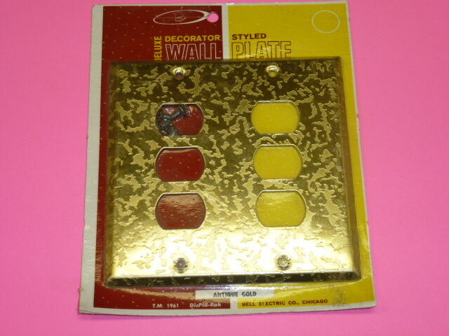 Nos! Bell Interchange 2-Gang Antique Gold Finish Wall Plate, 6-Hole, 19-2-Agz