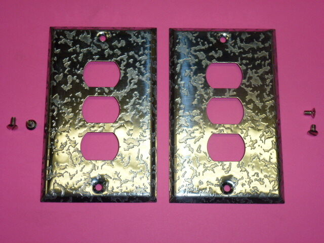 Nos! (2) Bell Interchange 1-Gang Antique Chrome Finish Wall Plate, 3-Hole