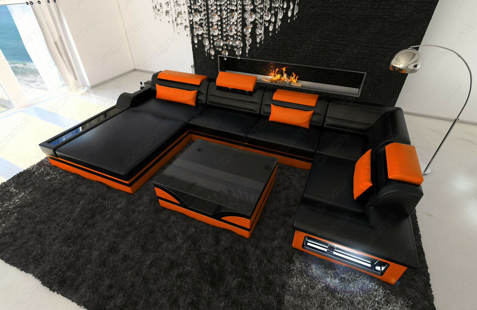 xxl wohnlandschaft mezzo led designer couch garnitur ledersofa eur picclick de. Black Bedroom Furniture Sets. Home Design Ideas