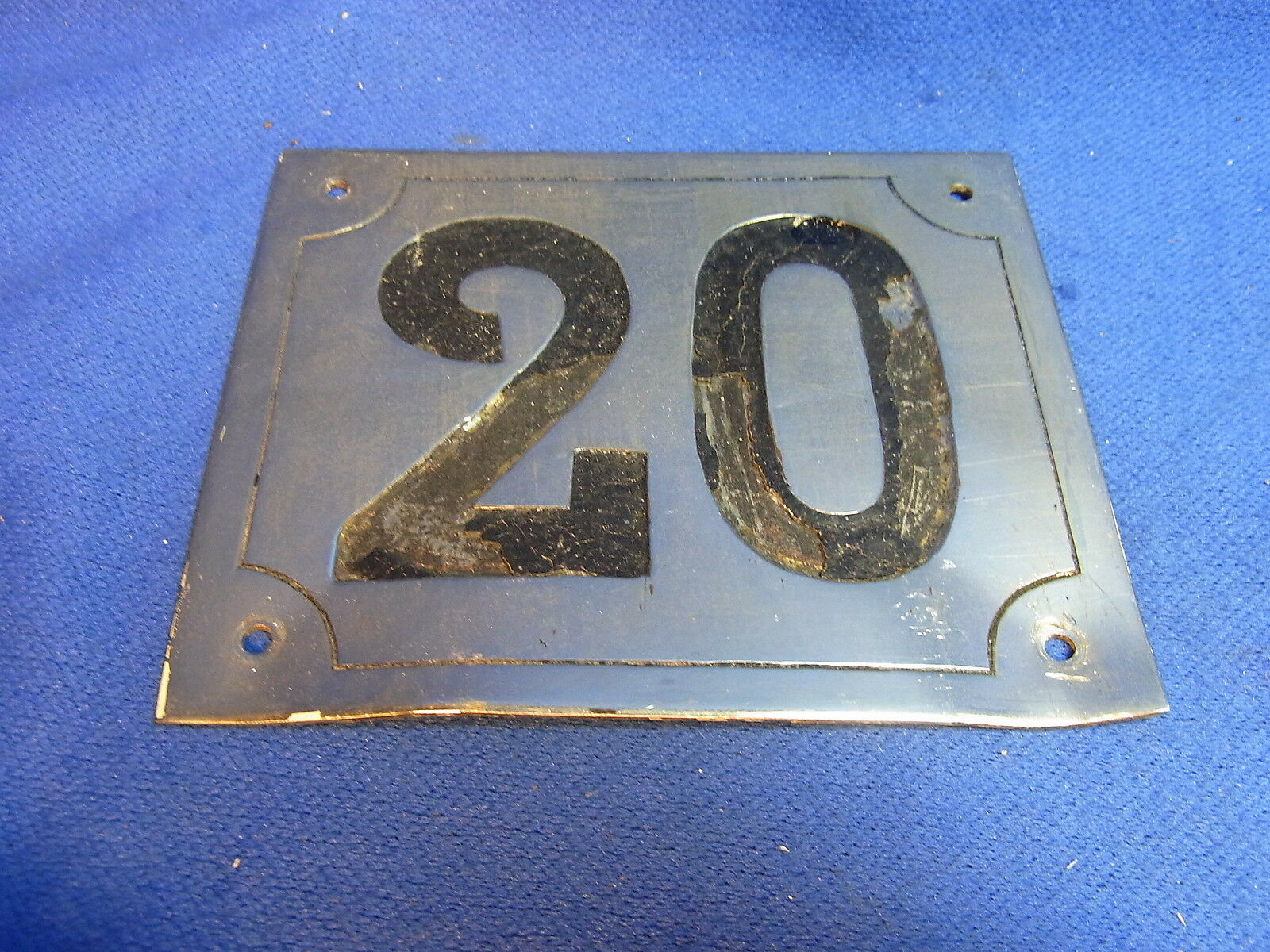 Mid Century Chrome with Black Numbers House Sign No. 20 #L