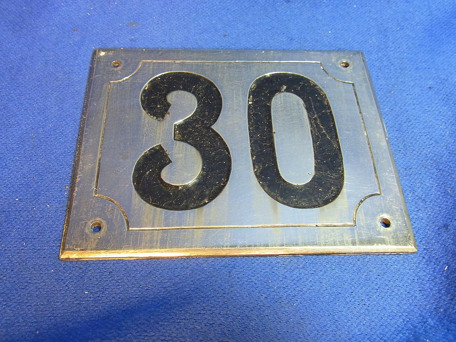 Mid Century Chrome with Black Numbers House Sign No. 30 #L