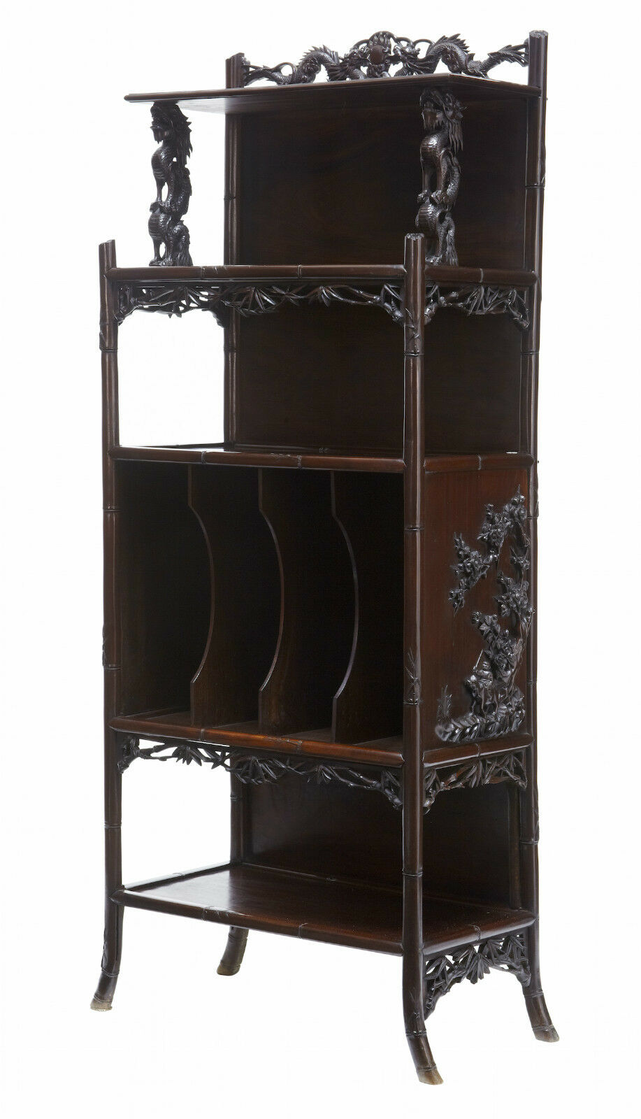 Stunning 19Th Century Chinese Carved Hardwood Open Cabinet
