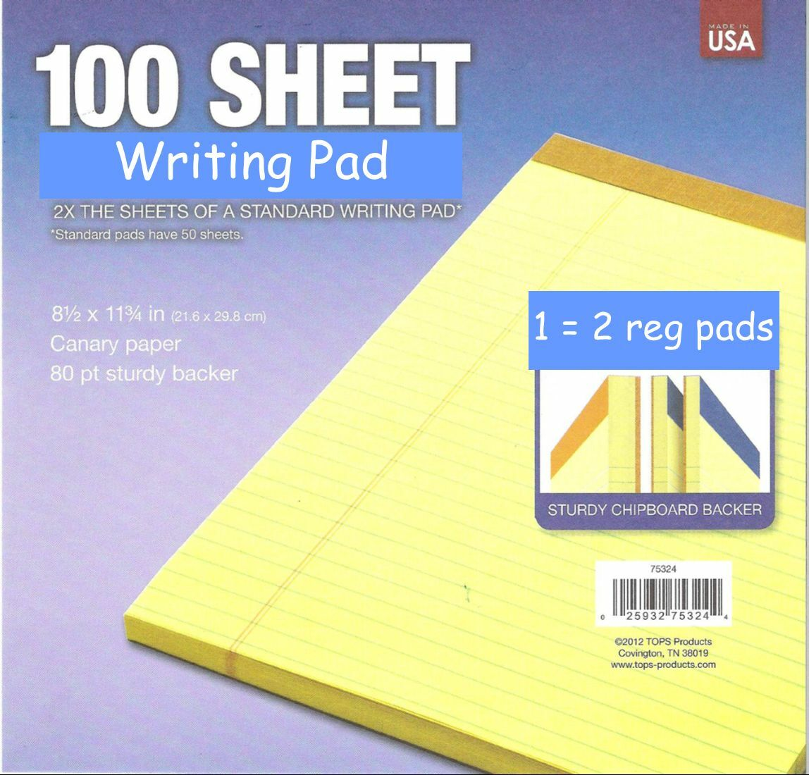 2 Pk Bonus Size Pad 8 1 X 11 Yellow Legal Note Pads Lined Large Standard Of 1free Shipping