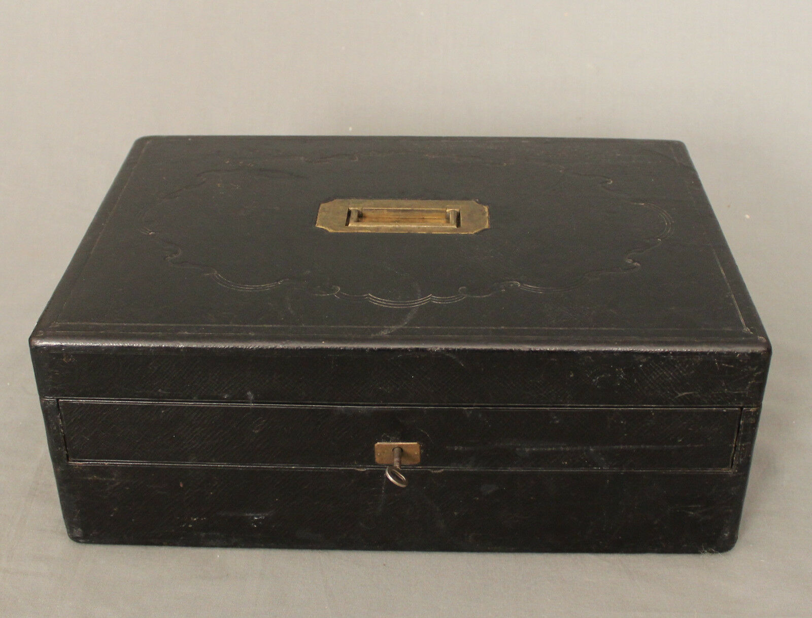 19th Century Leather Writing Box by W Leuchars 38 Piccadilly London