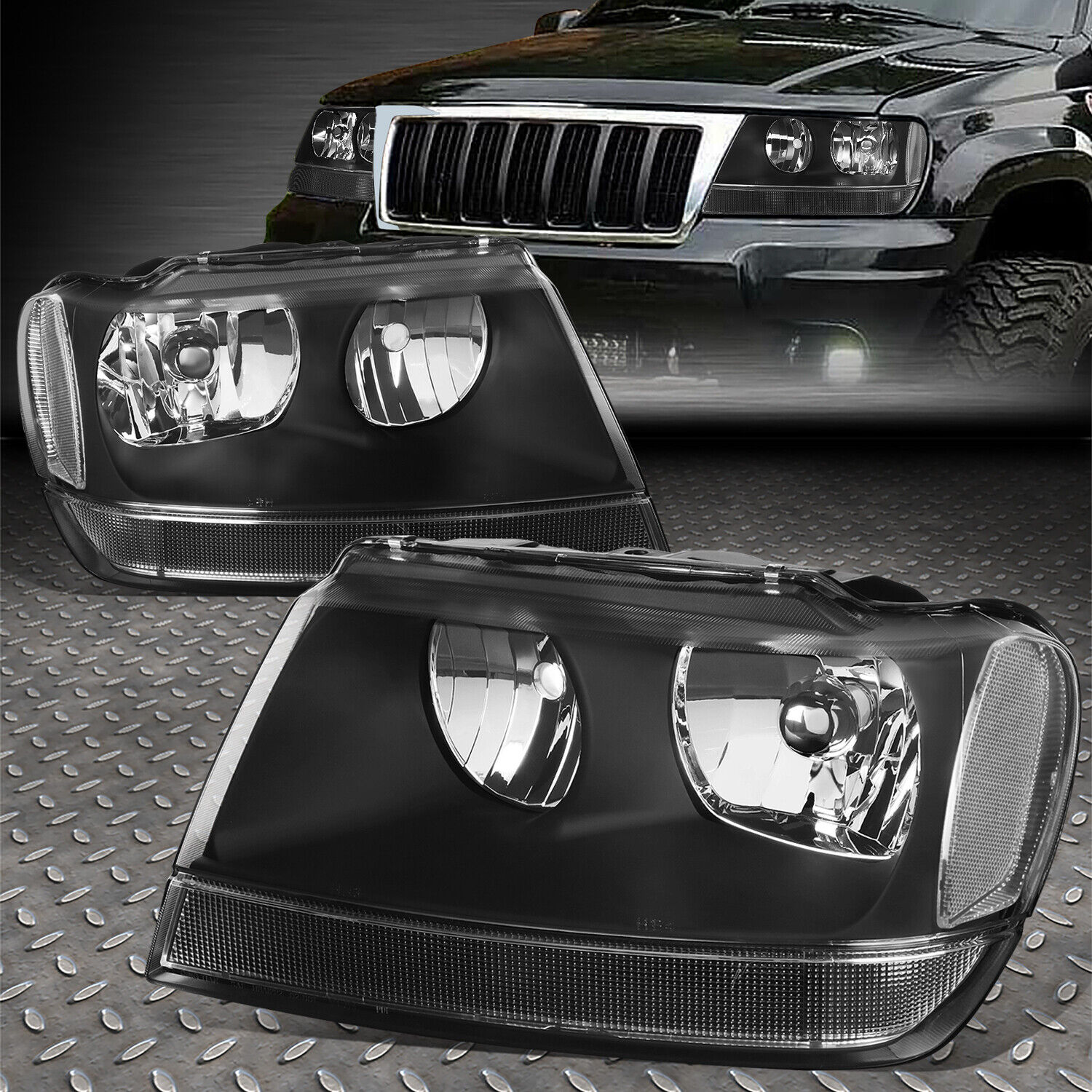 High Quality For 1999 2004 Jeep Grand Cherokee Black Housing Clear Corner Headlight/lamp  Set 1 Of 4FREE Shipping ...