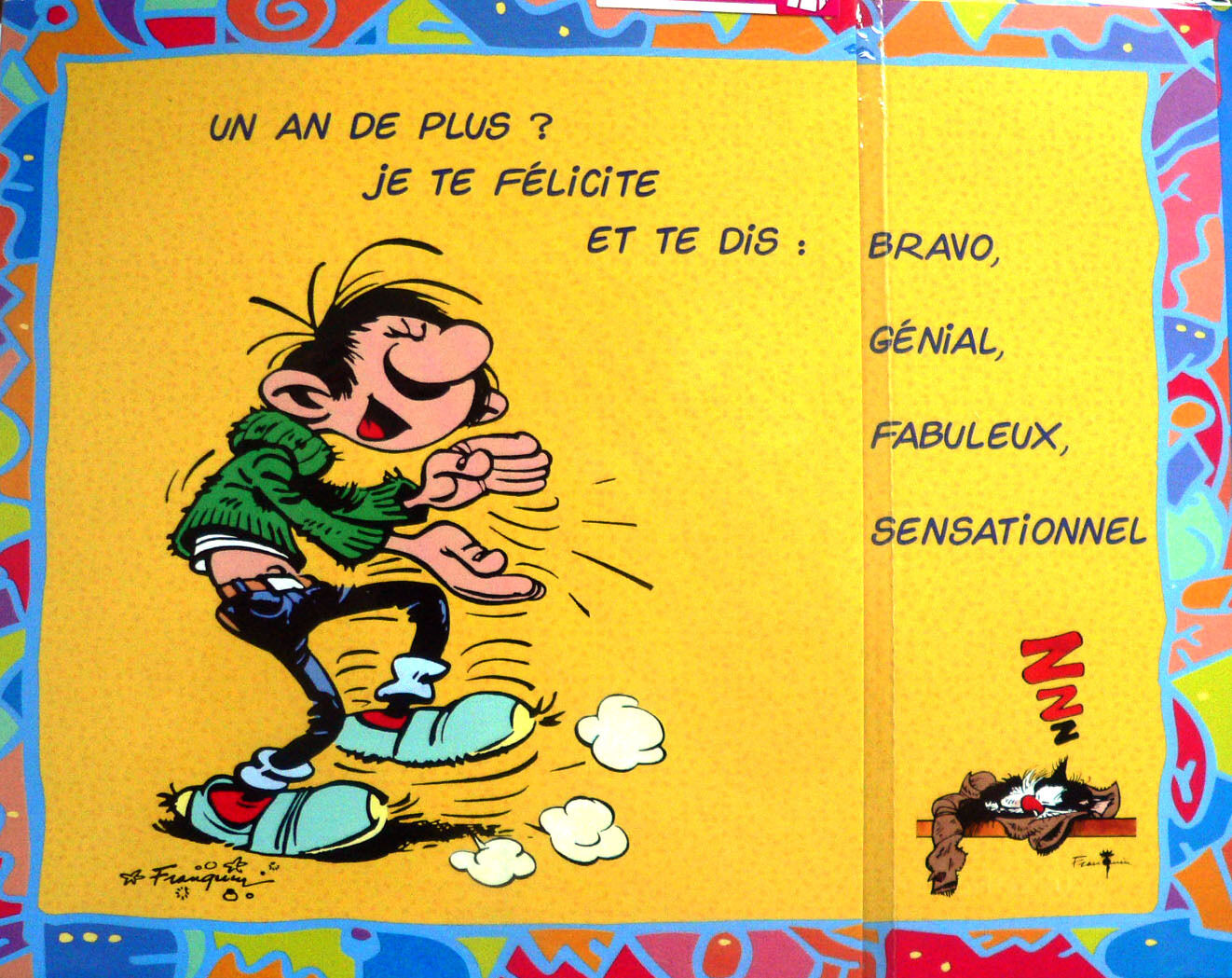 rare grande carte postale d 39 anniversaire de gaston lagaffe enveloppe humour eur 5 90. Black Bedroom Furniture Sets. Home Design Ideas