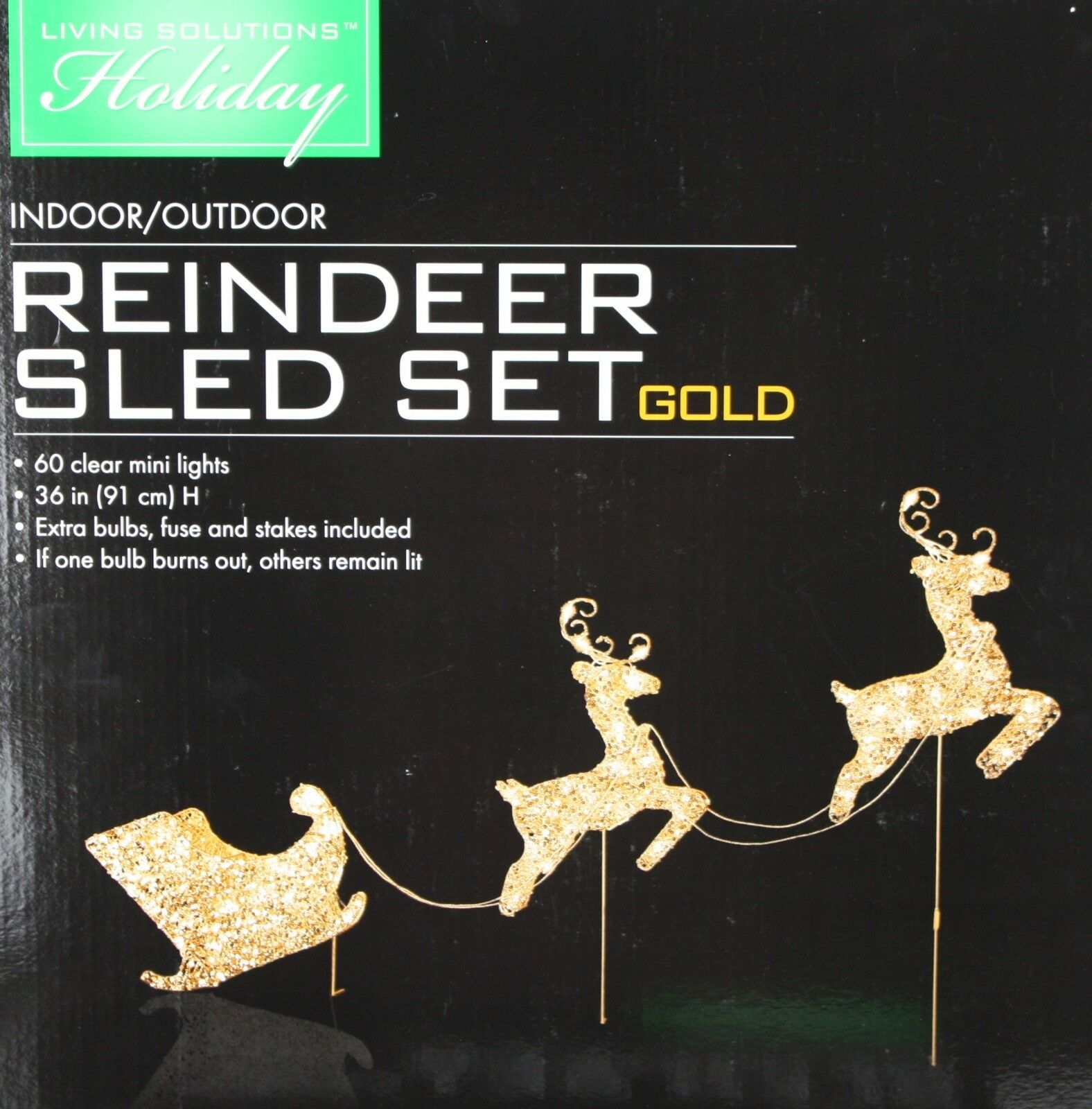 Living Solutions Reindeer Gold Sled Set 36 In H 60 Clear Mini Lights NIB 3