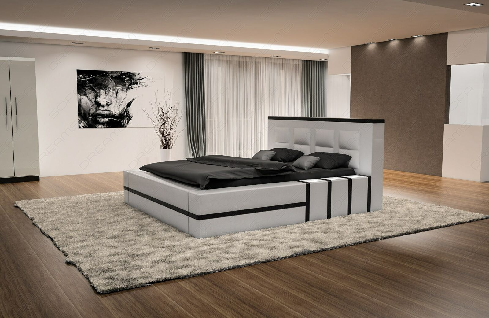 komplettbett design boxspringbett asti mit beleuchtung. Black Bedroom Furniture Sets. Home Design Ideas