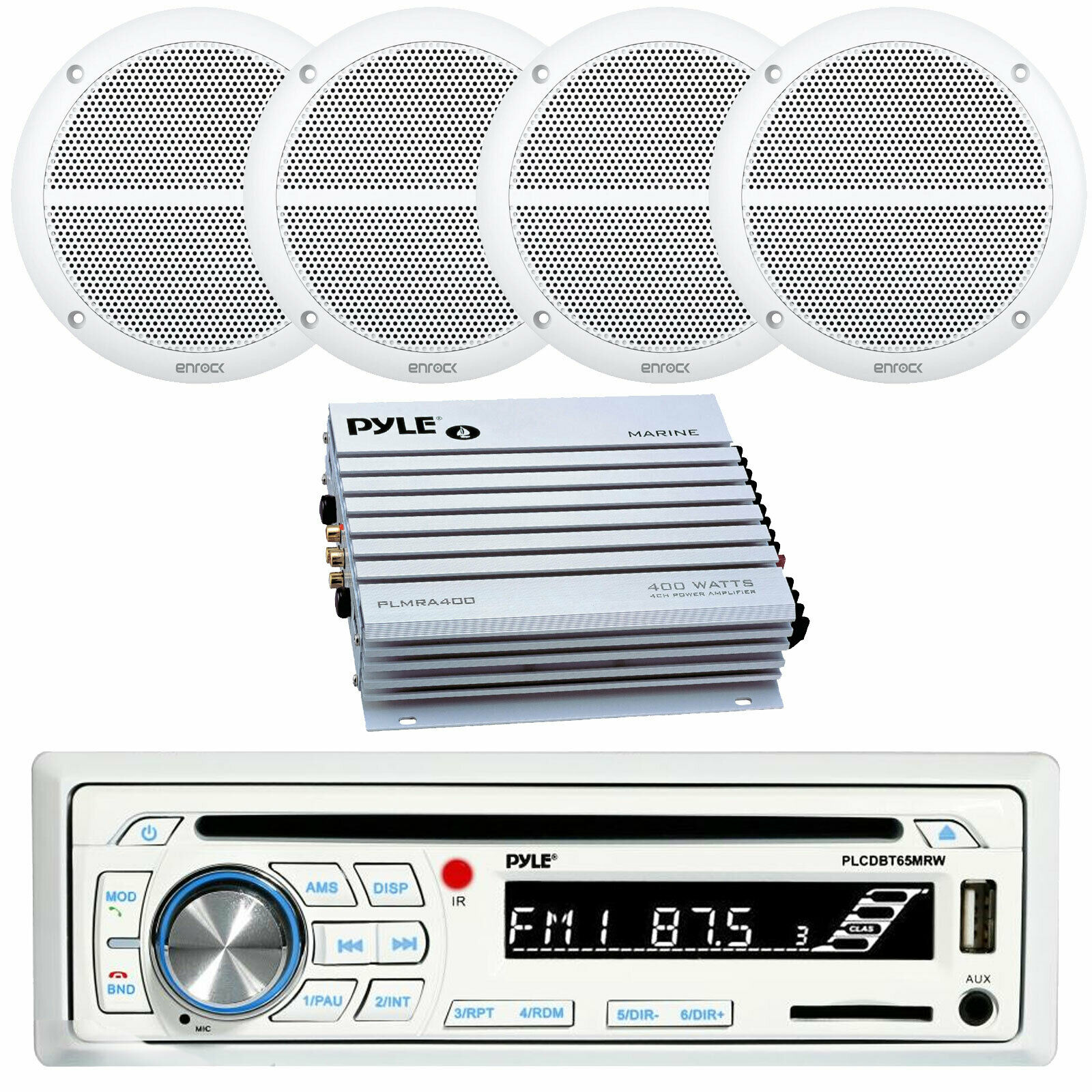 Marine 6x9 Speakers 400w Amplifier Kenwood Bluetooth Usb Jl Audio Amp Wiring Kit Marinerated Cd Receiver 1 Of 1only 4 Available See More