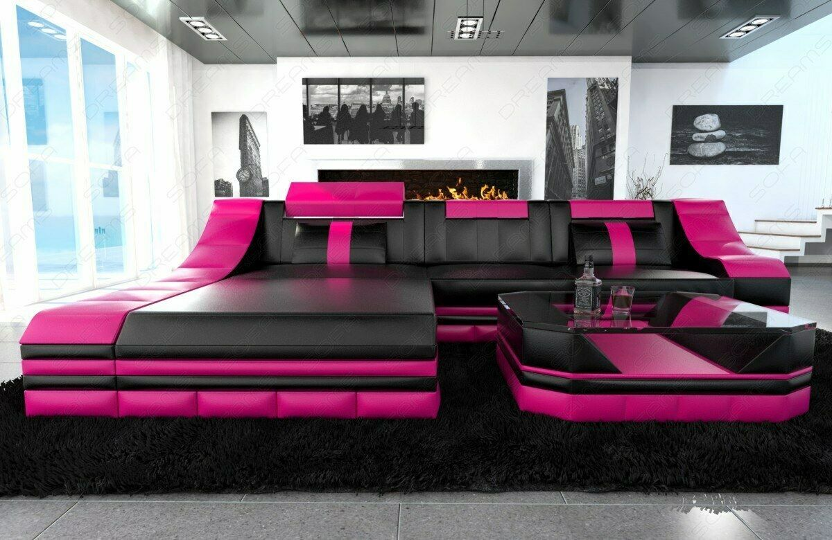 ecksofa luxus ledersofa turino l form mit led beleuchtung eckcouch schwarz pink eur. Black Bedroom Furniture Sets. Home Design Ideas