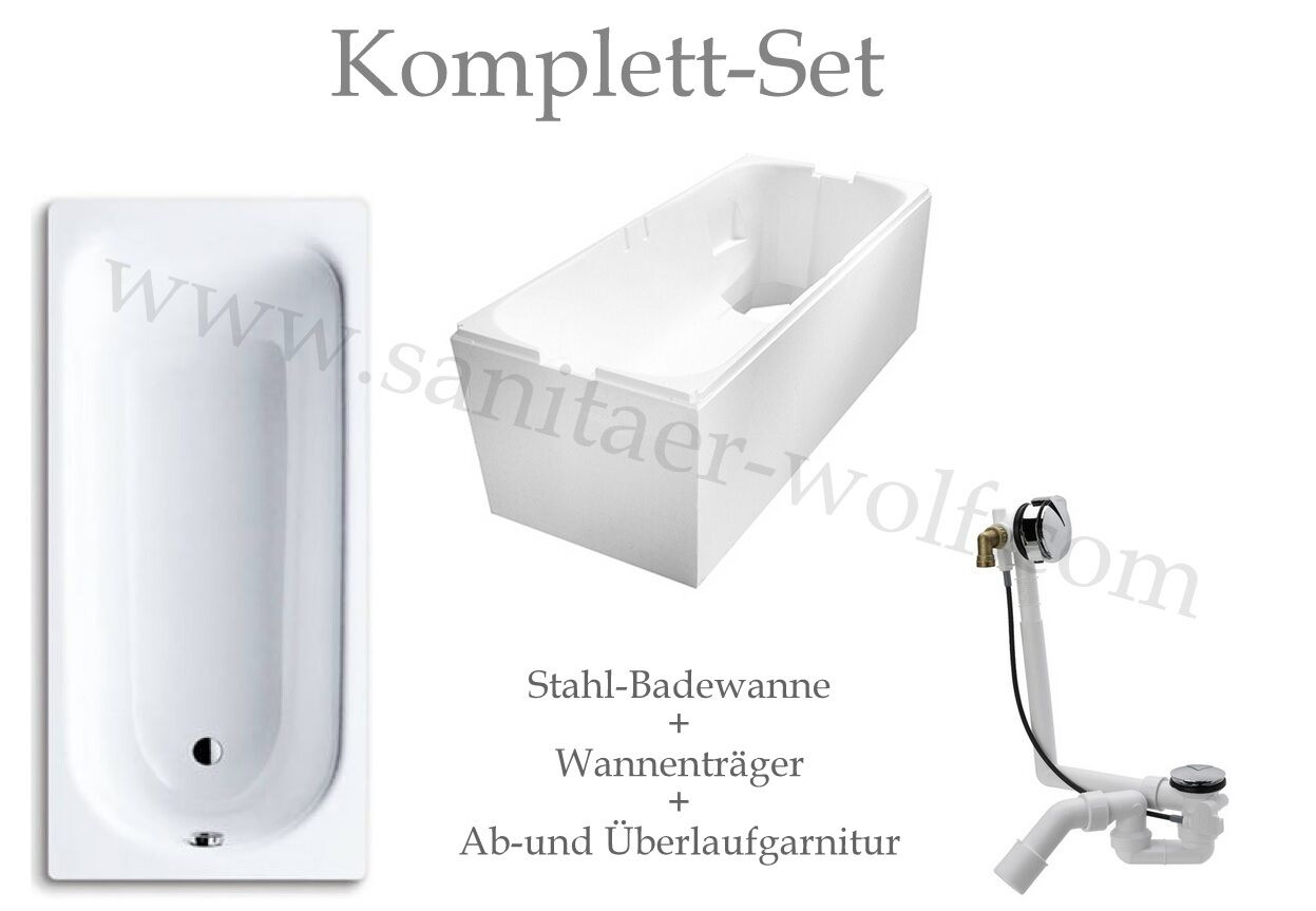 euro exklusiv stahl badewanne 180x80 wannentr ger. Black Bedroom Furniture Sets. Home Design Ideas