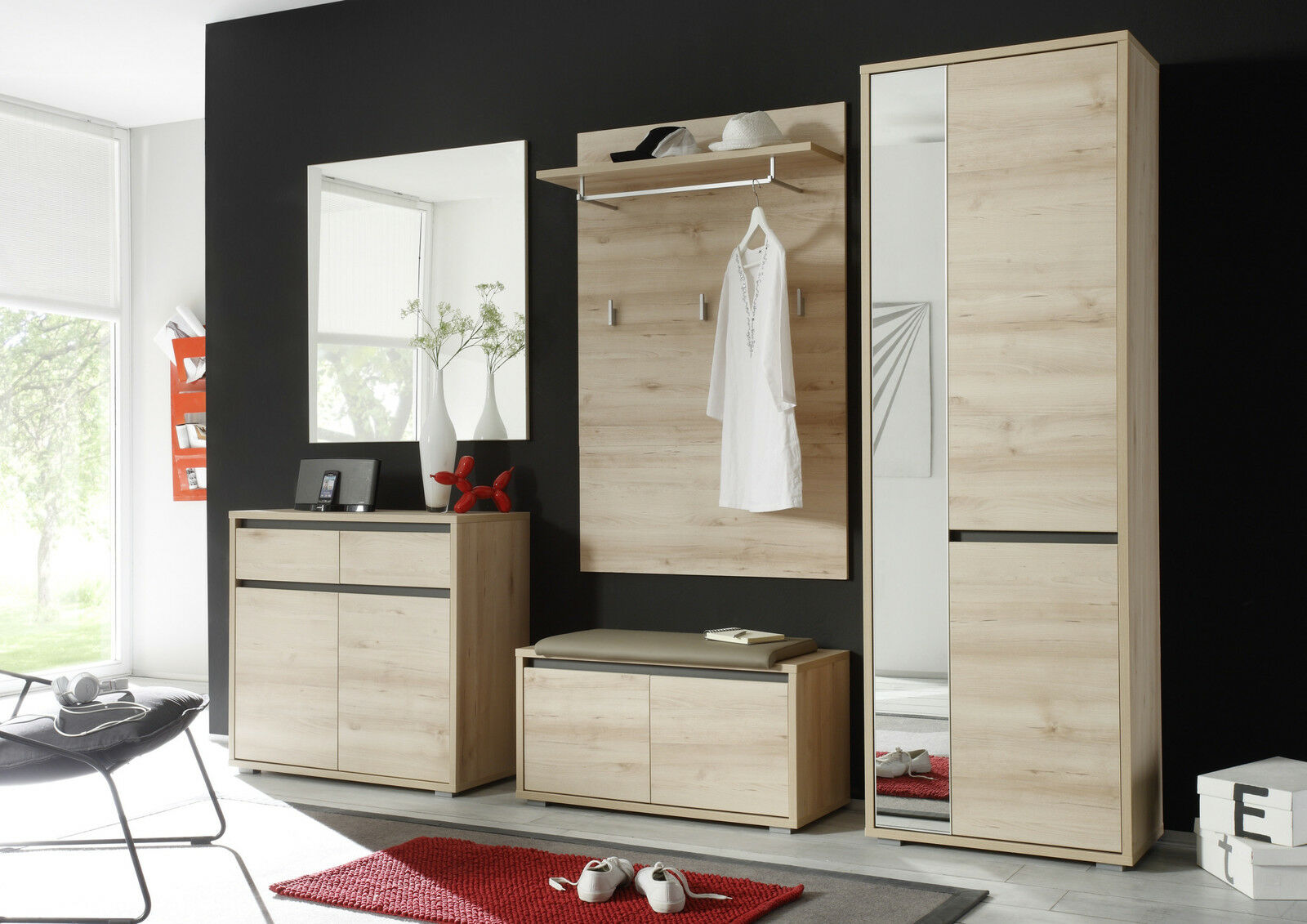 garderoben set edelbuche spiegel paneel schuhschrank schrank bank woody 63 00069 eur 549 00. Black Bedroom Furniture Sets. Home Design Ideas