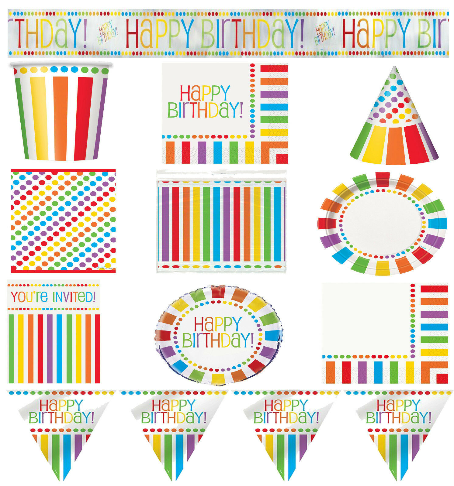 RAINBOW BIRTHDAY PARTY Tableware Decorations Supplies Kids Adult ...