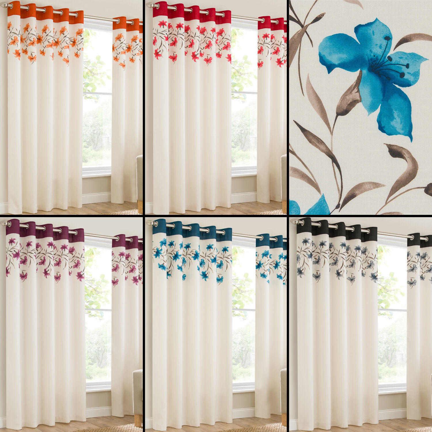 Lily Pair Ring Top Eyelet Fully Lined Ready Made Curtains Red Black Cream Blue Eur 16 89