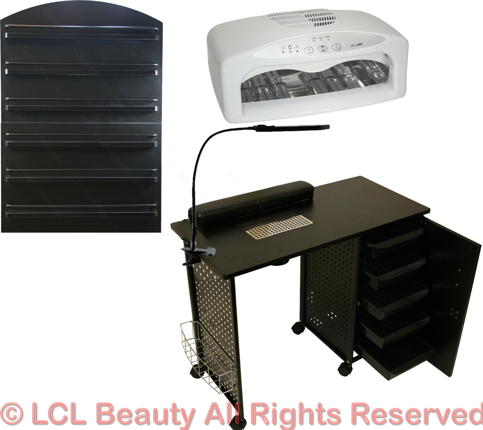 VENTED MANICURE NAIL Table Station LED Dryer Wall Mount Rack Salon ...
