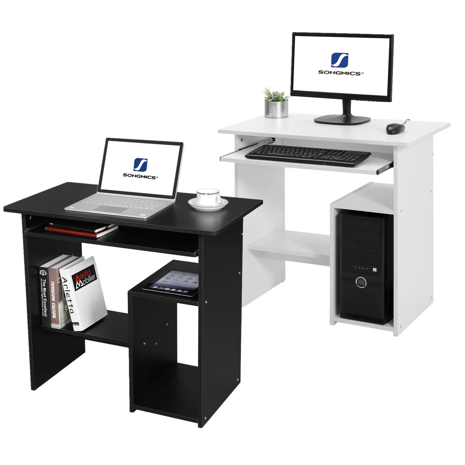 songmics bureau informatique table informatique meuble de bureau pour ordinateur eur 46 99. Black Bedroom Furniture Sets. Home Design Ideas