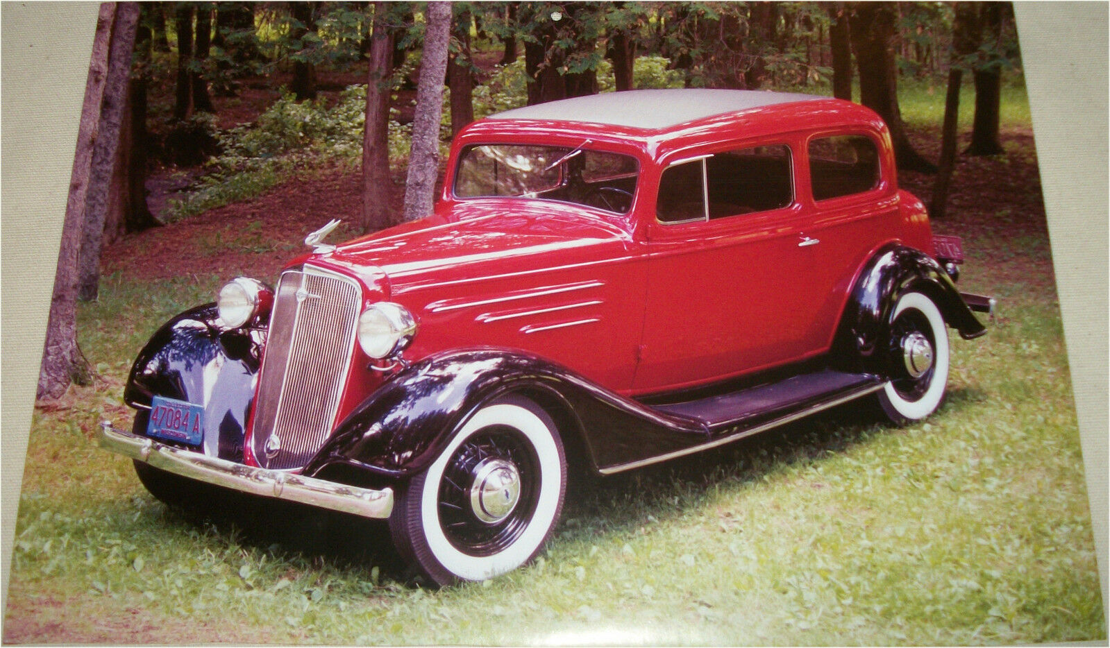 1934 Chevrolet Master Town Sedan Car Print Red Amp Black