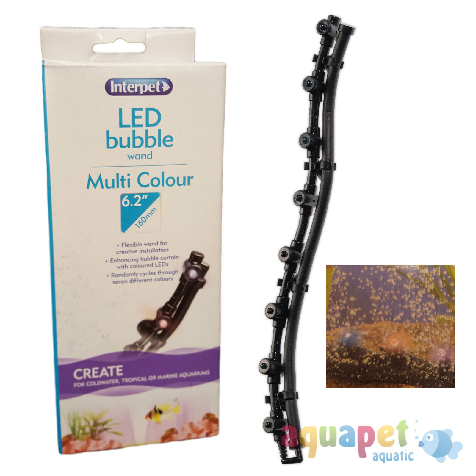 """Interpet LED Bubble Wand 7 Colours -  6.2""""/ 160mm or 13.4""""/ 340mm"""