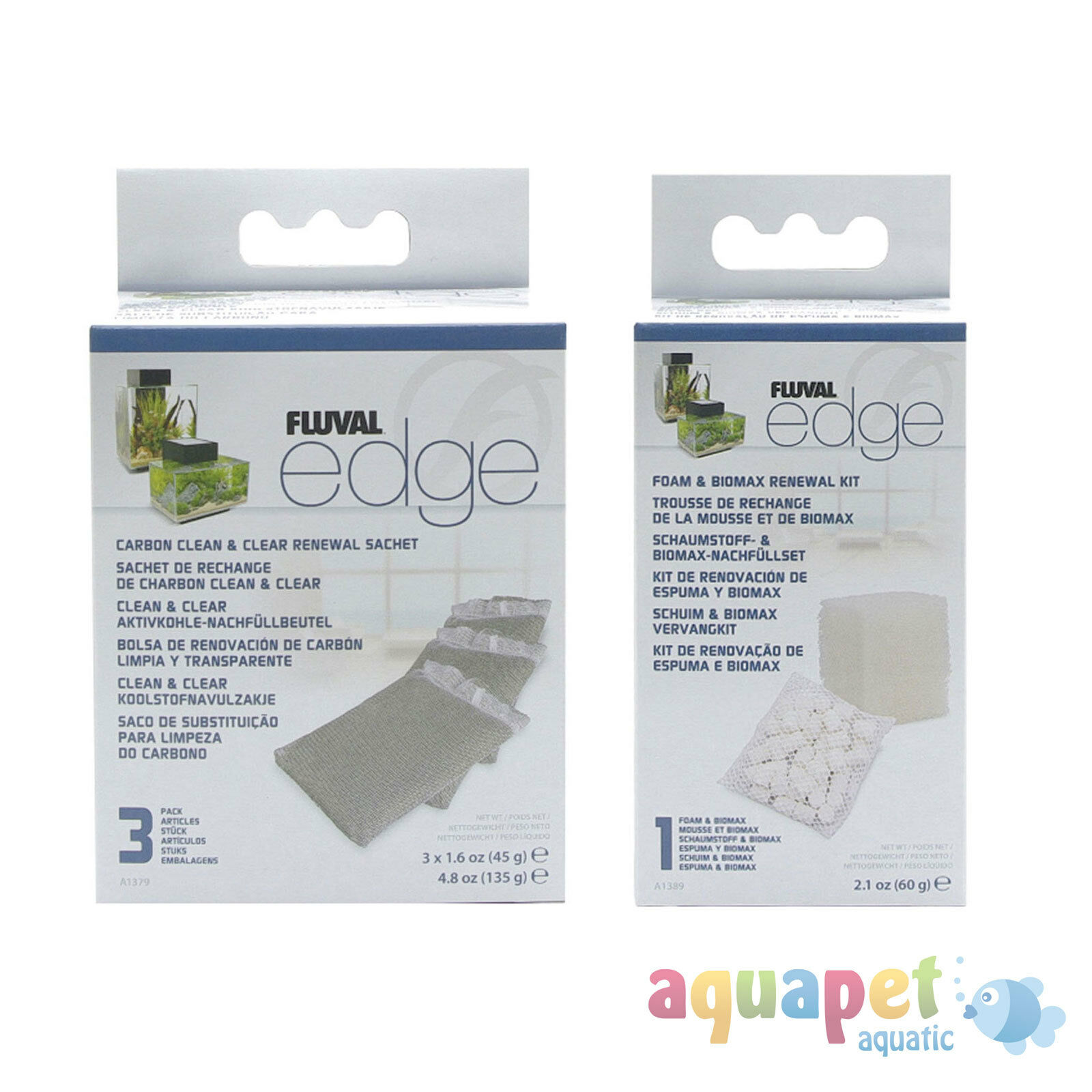 Fluval EDGE Filter Service Kit Carbon Clean & Clear and Foam & BIOMAX