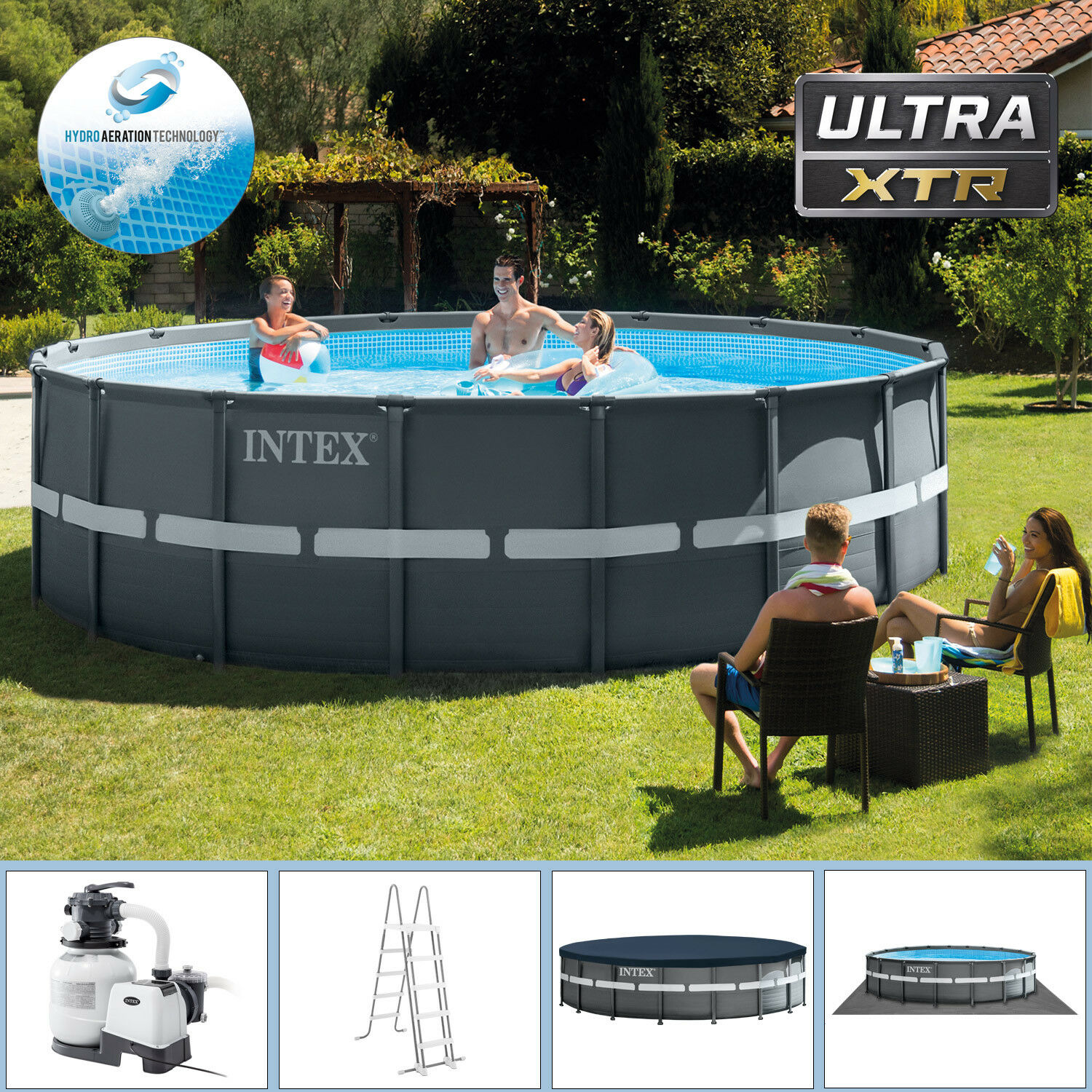 intex 549x132 cm swimming pool ultra frame stahlwand