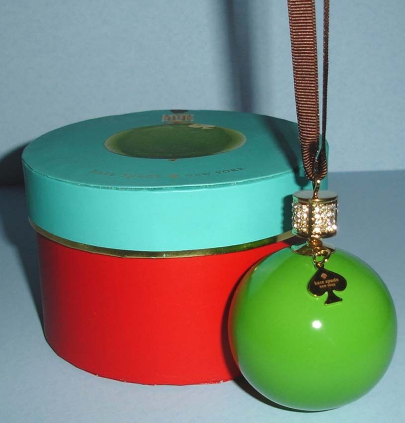 KATE SPADE BEJEWELED Pave Green Christmas Ball Ornament by Lenox New ...