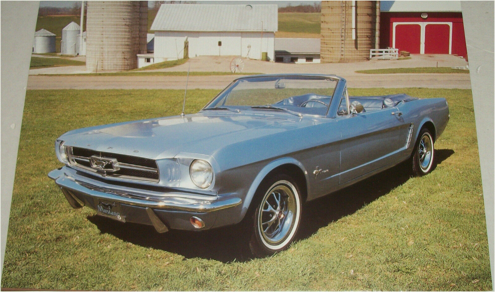 1965 Ford Mustang Convertible Car Print Blue No Top
