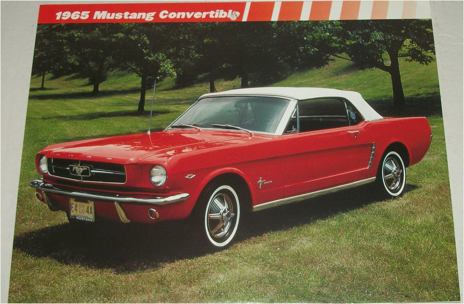 1965 Ford Mustang Convertible Car Print Red White Top
