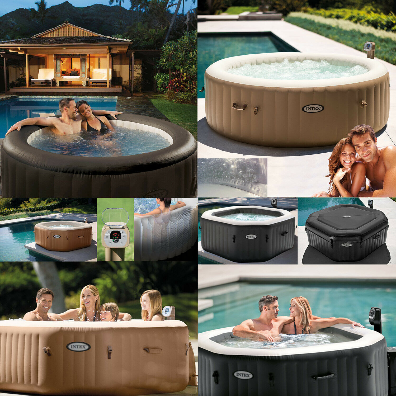 intex deluxe whirlpool spa pool badewanne aufblasbar. Black Bedroom Furniture Sets. Home Design Ideas