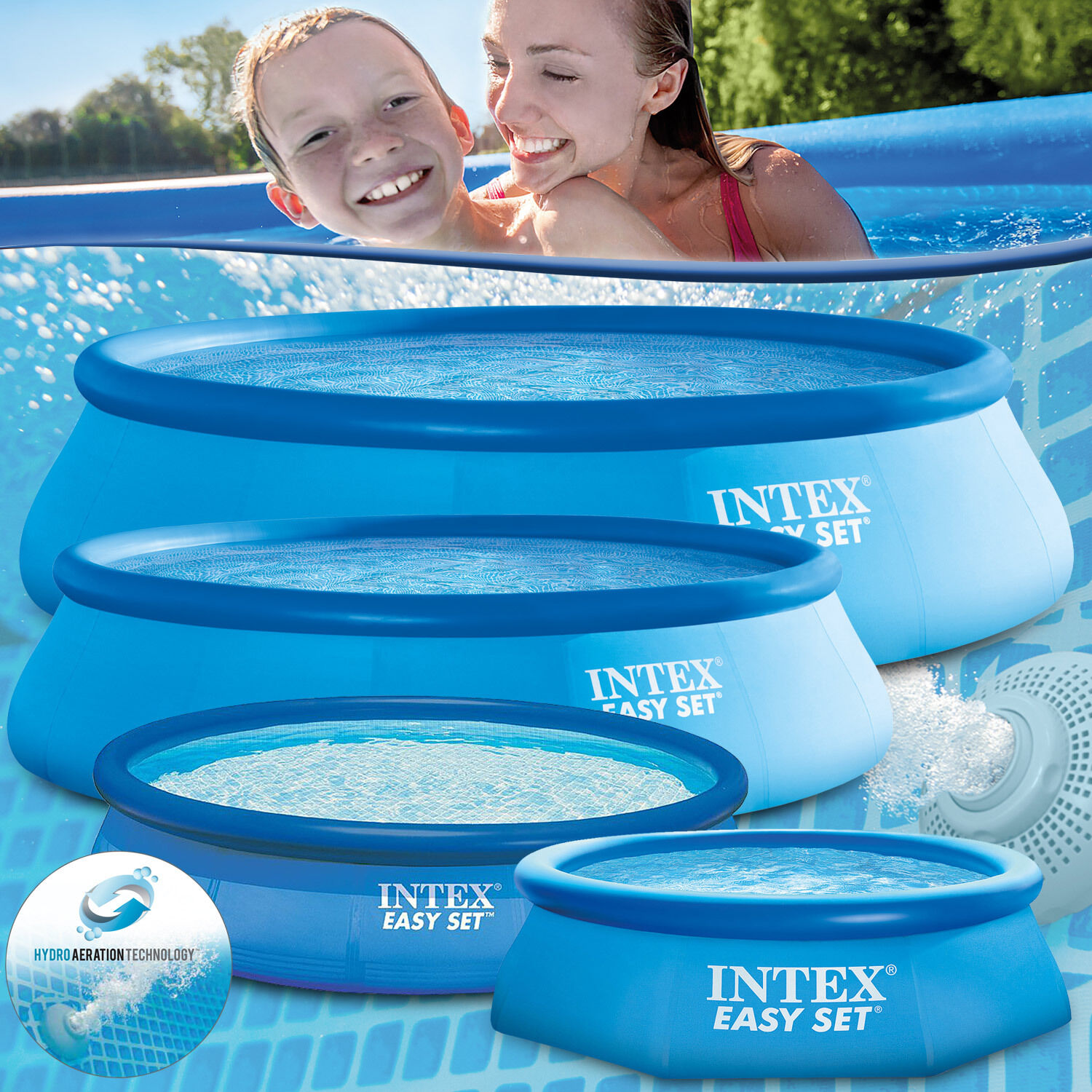 intex swimming pool rund easy schwimmbad schwimmbecken. Black Bedroom Furniture Sets. Home Design Ideas