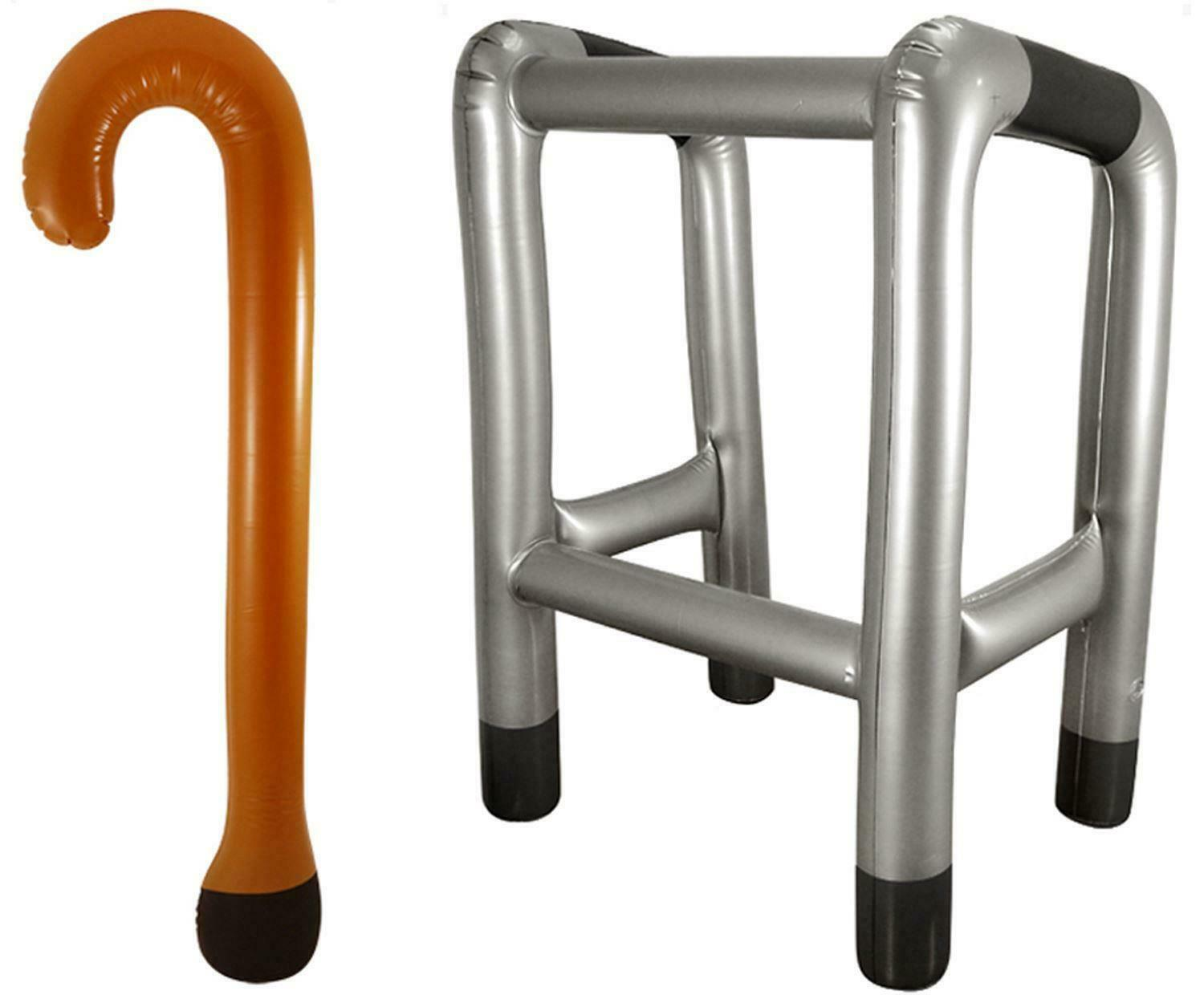 INFLATABLE WALKING STICK & Zimmer Frame Zimmerframe Novelty Party ...