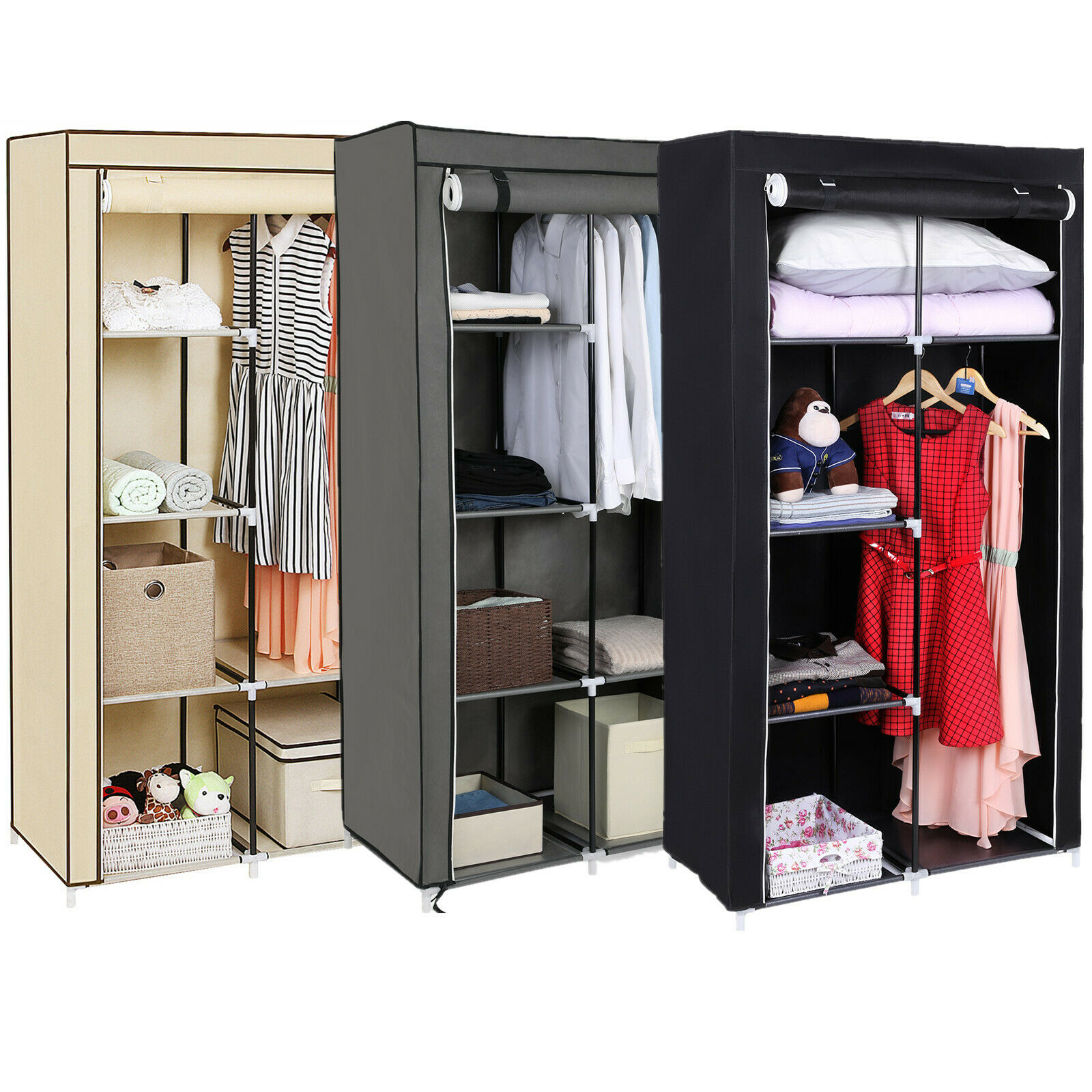 faltschrank kleiderschrank stoffschrank garderobe aufbewahrung regal 88x170x45cm chf. Black Bedroom Furniture Sets. Home Design Ideas
