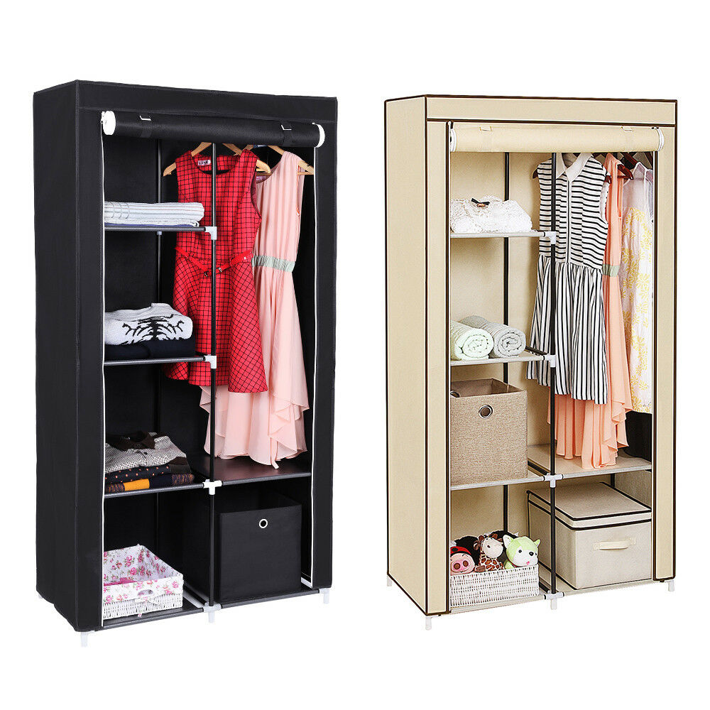 armoire de rangement penderie dressing en tissu intiss portemanteaux 170 cm eur 28 49. Black Bedroom Furniture Sets. Home Design Ideas