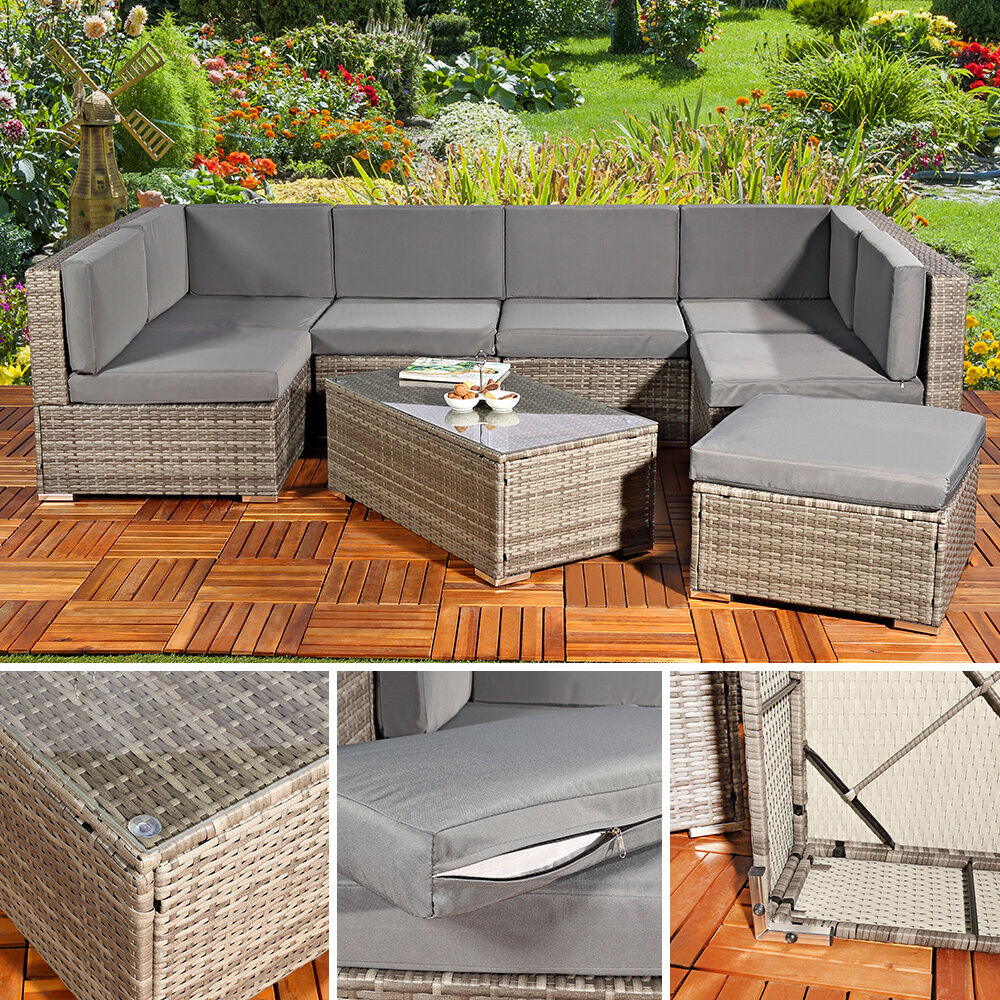 sitzgruppe xxl rattanm bel gartenset grau aus polyrattan. Black Bedroom Furniture Sets. Home Design Ideas