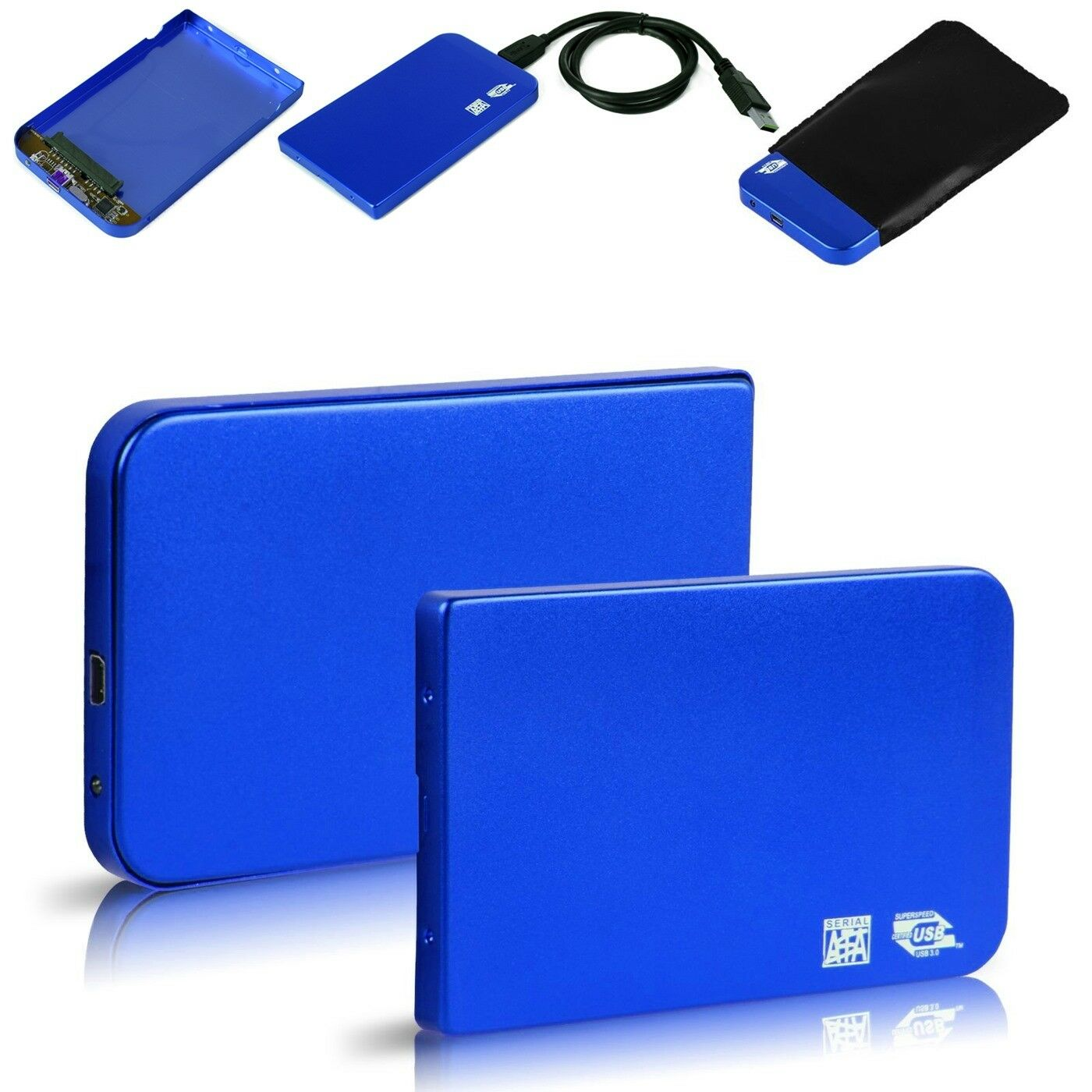 Aluminum 25 Usb 30 Sata Hdd Hard Drive Disk External Case Casing Hardisk Seagate Enclosure Blue 1 Of 7free Shipping See More