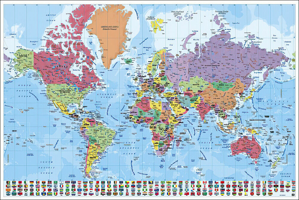 Map of the world poster print political world map with flags map of the world poster print political world map with flags gumiabroncs Images