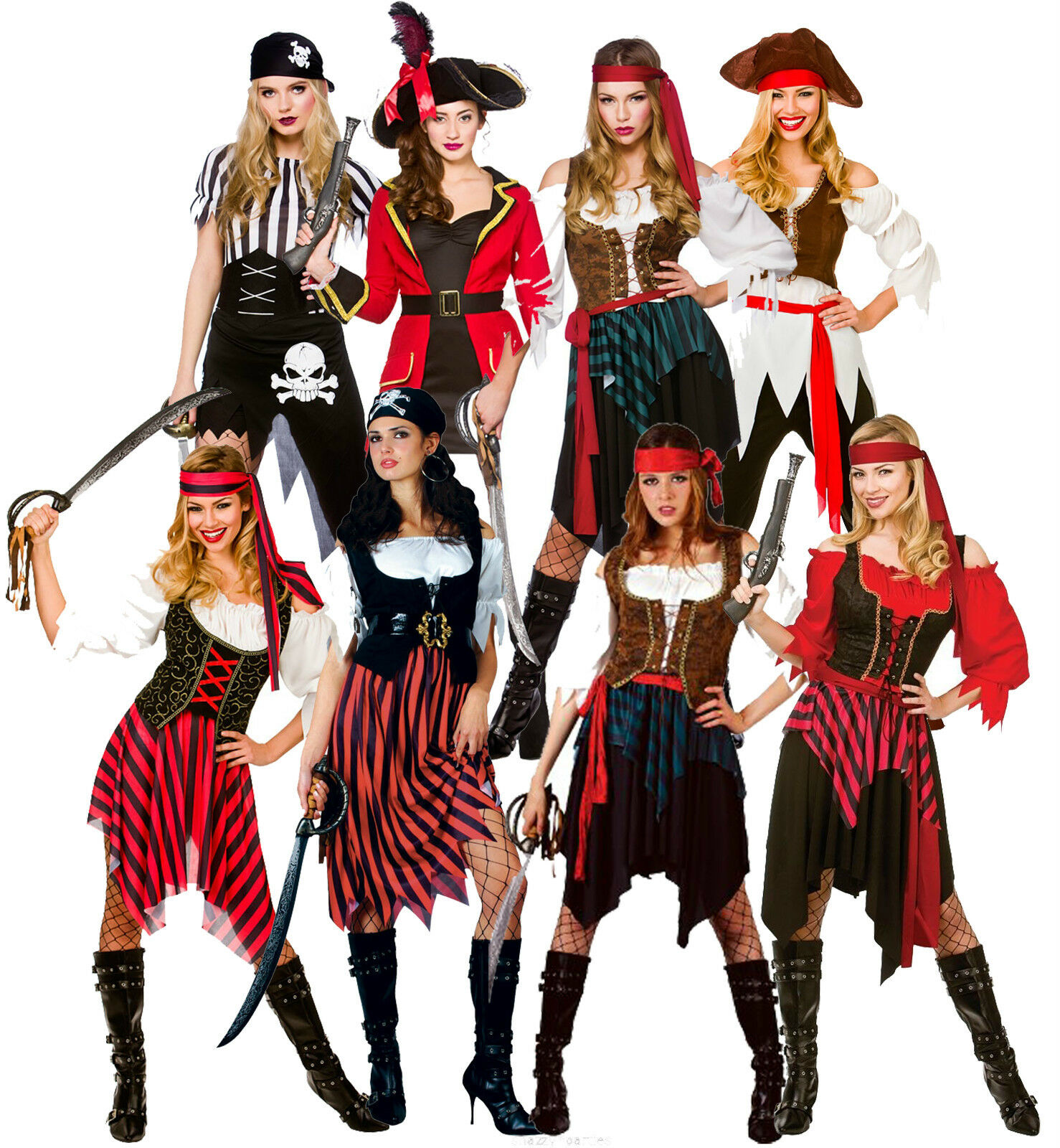 womens pirate fancy dress costumes caribbean shipwreck