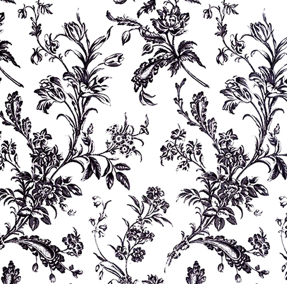 Black And White Floral Print Tissue Paper 305 10 Large Sheets