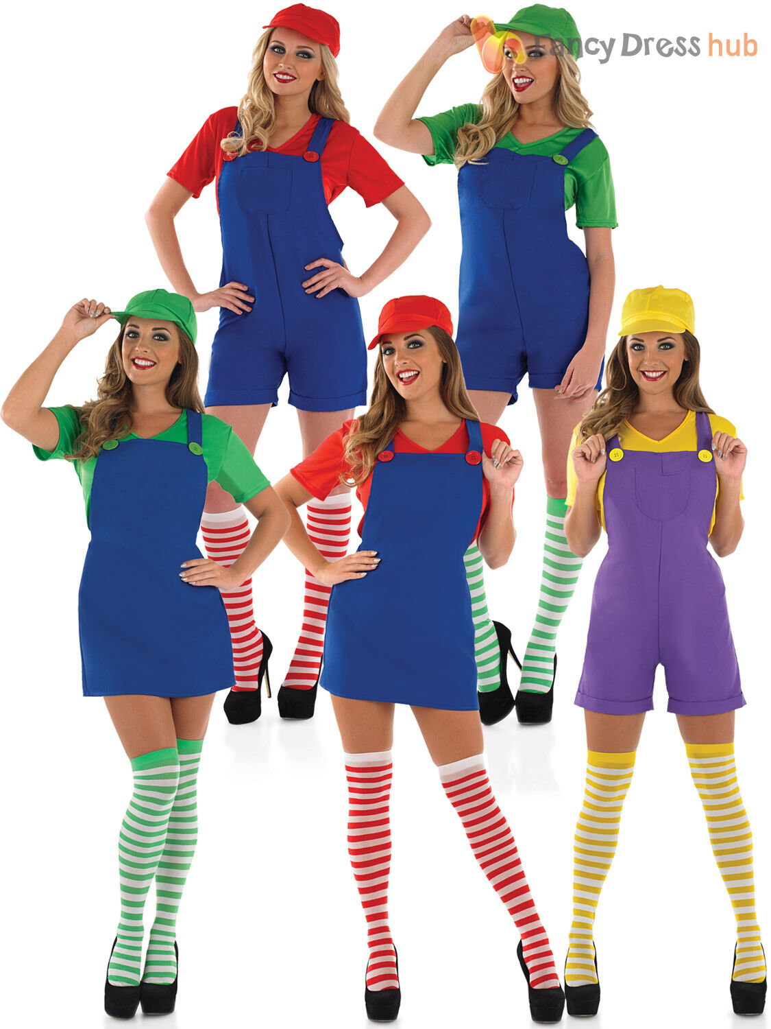 ladies super mario luigi costume adult plumber bro fancy dress women 80s outfit. Black Bedroom Furniture Sets. Home Design Ideas
