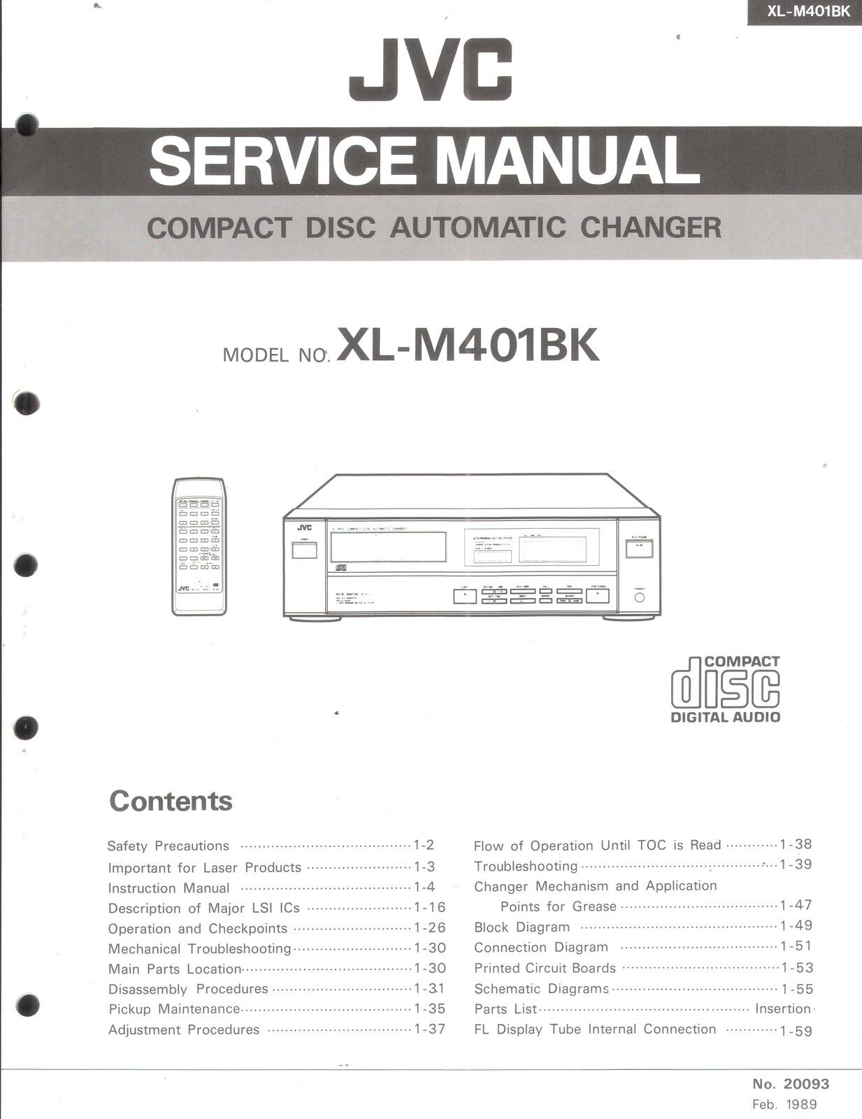 JVC Original Service Manual für XL-M 401 1 sur 1Seulement 1 disponible ...