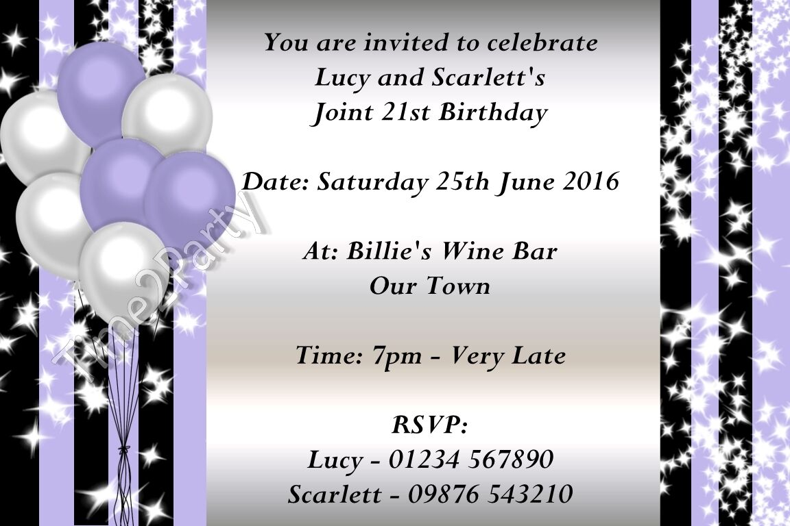 PERSONALISED BIRTHDAY PARTY Invitations 16th 18th 21st 30th 40th ...