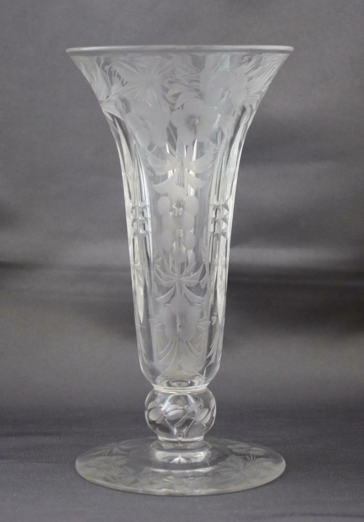 Antique Signed Libbey Abp Cut Glass Footed Vase Floral Design