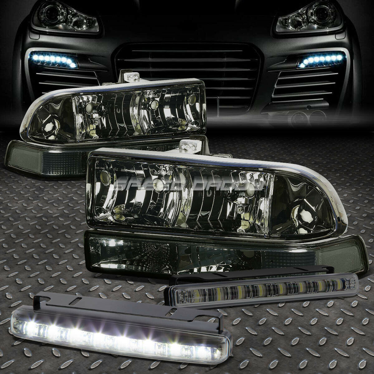 Smoked Housing Headlight Bumper Signal Led Fog Light For 98 04 Chevy S10 Blazer 1 Of 10only 0 Available