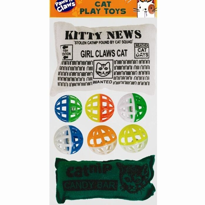 8 x Colourful Assorted Cat Toy Balls + Catnip Filled Cushions Pets Jingle Claw