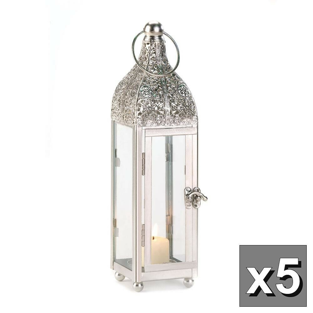 """5 MOROCCAN SILVER 12"""" tall Candle holder Lantern Lamp wedding table ..."""