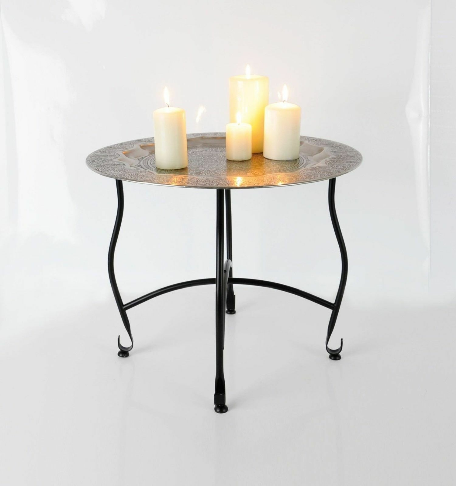 oriental table d 39 appoint m tal table ornements 40cm. Black Bedroom Furniture Sets. Home Design Ideas
